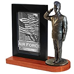 Khaki Army MD109W US Air Force Airman in Service Dress Uniform and Flight Cap Saluting on Wood Base with 4x6 Photo Frame