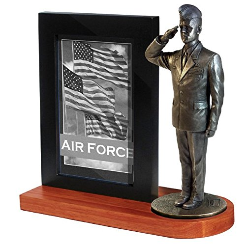 (Khaki Army MD109W US Air Force Airman in Service Dress Uniform and Flight Cap Saluting on Wood Base with 4x6 Photo Frame)