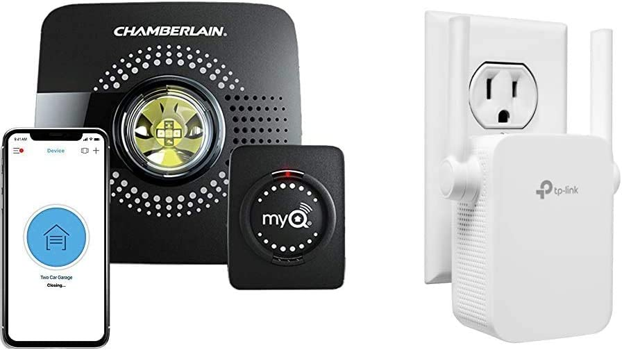 MyQ Smart Garage Door Opener Chamberlain MYQ-G0301 - Wireless & Wi-Fi Enabled Garage Hub, 1 Pack & TP-Link N300 WiFi Extender,Covers Up to 800 Sq.ft, WiFi Range Extender Supports up to 300Mbps Speed