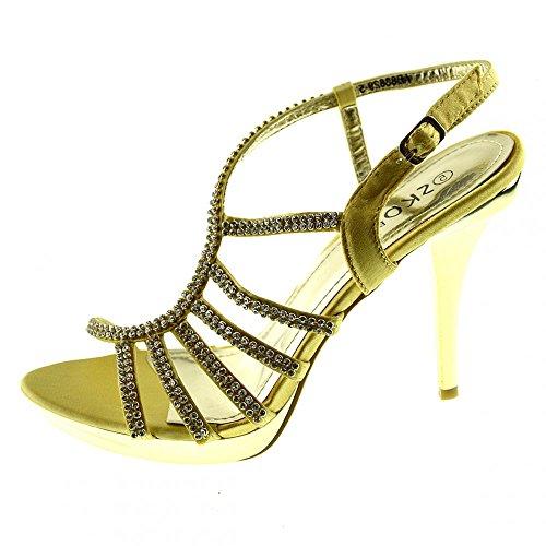 Kick Footwear - Kick Schuhe Damen Stiletto High Heels Hochzeit-Gold-Silber-Schwarz Schuhe GOLD - AB83829-5