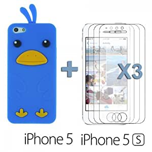 Chick Style Soft Silicone Case forDiy For Iphone 6 Case Cover Blue with 3 Screen Protectors
