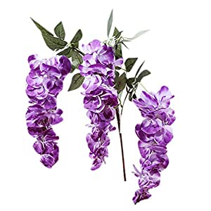 OmkuwlQ 3 Head Artificial Wisteria Flower Vine Ratta Hanging Floral String Wedding Bouquet Decoration 110