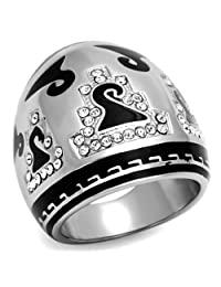 Women's Aztec Inspired Clear Crystal Fashion Cocktail Ring