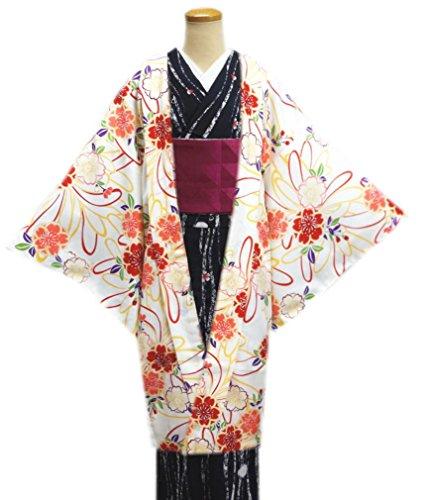 取得コスチューム顕微鏡洗える長羽織オフホワイト白色地八重桜花紐(フリー) 和装着物冬用コート