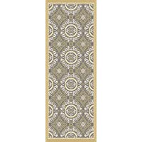 2.6 x 7.25 Moroccan Motif Jasmine Yellow and Charcoal Gray Area Throw Rug Runner