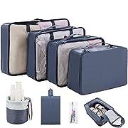 CISHANJIA Packwürfel Kompression, 8 teilige Koffer Organizer Reise Organisation Zubehör mit Kosmetiktasche…