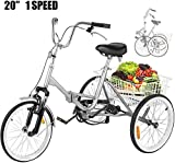 VEVOR 20 Inch Adult Tricycle Folding Style 3 Wheel Bike Adult Tricycle Trike
