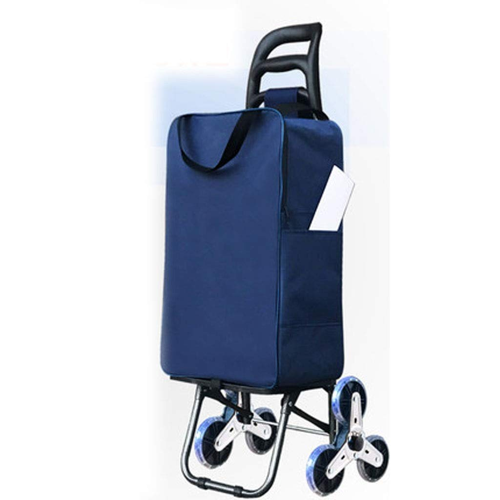 Bmwjrzd Lightweight Shopping Trolley, Small Cart Luggage Trolley,Hard Wearing Foldaway for Easy Storage (Color : Blue)