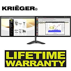 "KRIËGER KL2327N Dual 2 Monitor Desk Mount Full Motion Articulating Arm for two LCD, OLED, 4K Computer Displays, 17, 19, 20, 22, 23, 24, 27"", Fits VESA (Dual Monitor Freestanding)"