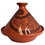 """Tagine Cooking Pot Original Moroccan Handmade Lead Free Clay 10 Quart Cooking Dish Family Size Recipe Book and Metal Diffuser Included 6 12"""", Cook Chicken, Meat, Seafood or Vegeterian food- comes with 4 starter recipe booklet Handcraft Authentic Tagine, for Cooktop or Oven, Made in Tunisia Cooking in clay greatly enhances the flavor and preserves more of the nutritional value of cooked foods."""