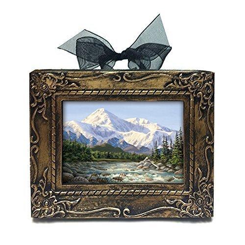Antique Framed Print (Handmade Antique Style Framed Mini Majestic Denali Alaskan Painting Of Denali Art Print Desk or Tree Ornament by Karen Whitworth)
