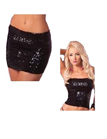 39ac6315ad1 Amazon.com  Pink Lipstick Women s Sequin Top OR Tube Skirt  Clothing