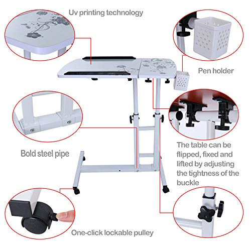 Lucoo Laptop Desk Folding Computer Desk Household Can Be Lifted and Folded 64cm40cm (White) by Lucoo (Image #1)