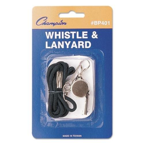 Champion Sports Metal Whistle & Black Lanyard, 12-Pack (Champions Lanyard)
