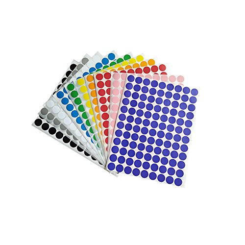 10 Colors 0.75 Inch Round Dot Labels Stickers Coding Labels 10 Sheets 1080 Stickers -