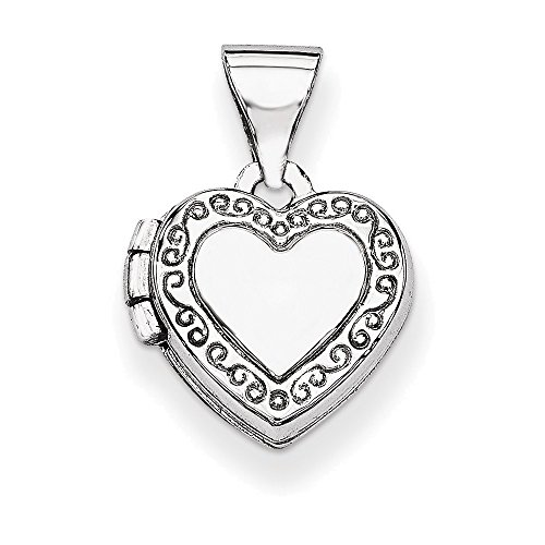 (14k White Gold Polished Heart-Shaped Scrolled)