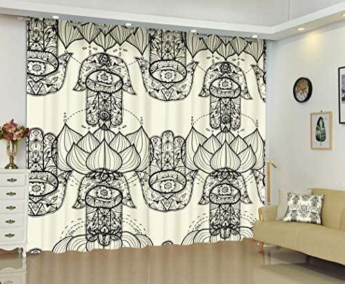 Flowers Curtains,Vintage Grunge Ethnic Boho Patchwork,Soundproof Blackout Curtains
