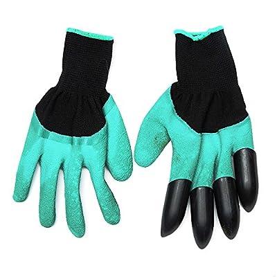 ZevenMart 1Pair Digging Gloves Planting Rubber Polyester Safety Work Gloves Builders Grip Gloves Gardening