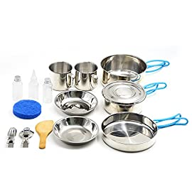 amping Cookware, Stainless Steel Mess Kit Backpacking Gear & Hiking Outdoors Bug Out Bag Cooking Equipment 16 Piece Cookset for 2 Person - Lightweight, Compact & Durable Pot Pan