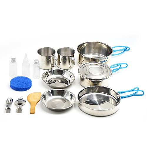 Camping Cookware, Stainless Steel Mess Kit Backpacking Gear & Hiking Outdoors Bug Out Bag Cooking Equipment 16 Piece Cookset for 2 Person - Lightweight, Compact & Durable Pot (Family Cook Kit)