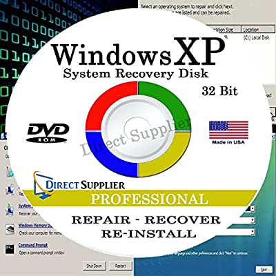 WINDOWS XP - 32 Bit DVD, Supports PROFESSIONAL edition. Recover, Repair, Restore or Re-install Windows to Factory Fresh!