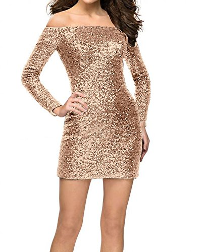 JAEDEN Cocktail Dress Sequin Short Party Dress with Long Sleeves Bodycon Gown Off The Shoulder Rose Gold