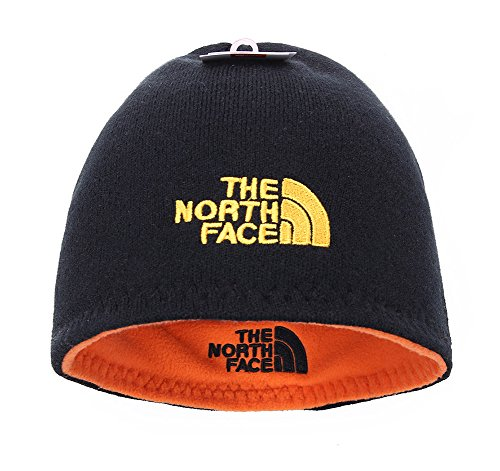 The North Face Winter Thicken Polar Fleece Knit Ski Reversible Beanie Hat (Black, One Size) (Knit Winter Reversible Hat)