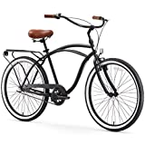 sixthreezero Around The Block Men's 3-Speed Cruiser Bike, Matte Black with Brown Seat and Grips
