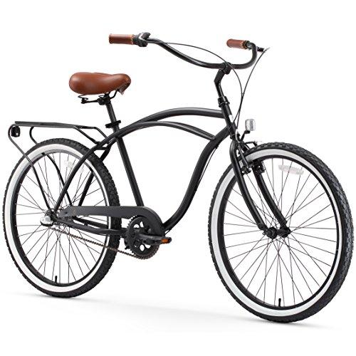 Vintage Road Bicycles (sixthreezero Around The Block Men's 3-Speed Cruiser Bicycle, Matte Black w/ Brown Seat/Grips, 26