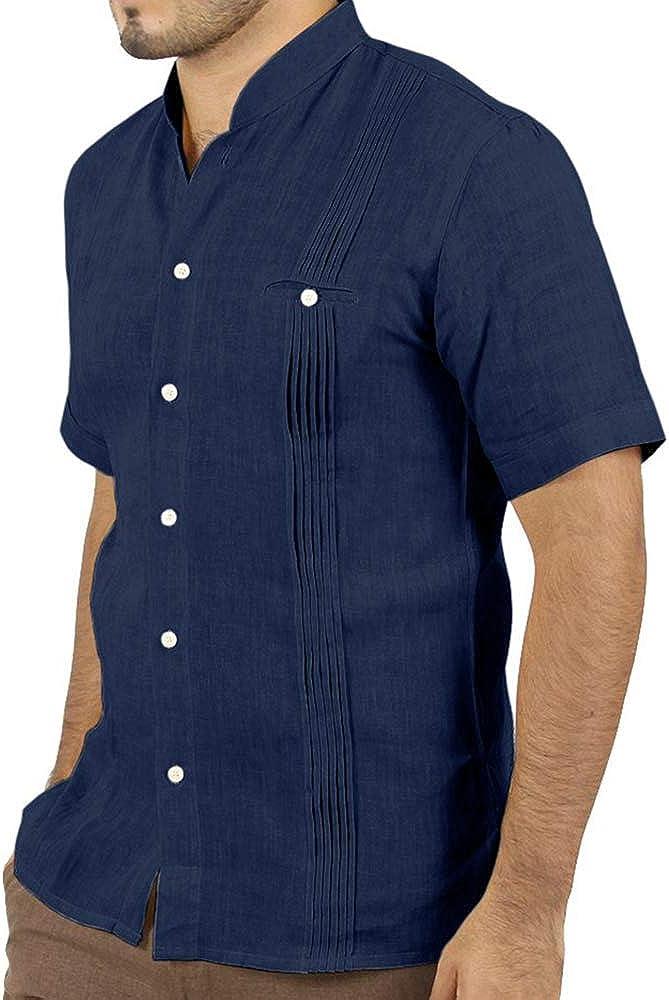 Taoliyuan Guayabera Camisas de Lino para Hombre, Manga Corta Cubana, con Botones, Informal, holgadas, para Verano - Azul Marino - Large: Amazon.es: Ropa y accesorios