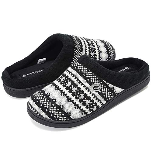 (CIOR Fantiny Women's Memory Foam House Slippers Sweater Knit Embroidered Pattern and Ribbed Hand-Knit Collar-U1MTW014-black-36-37)