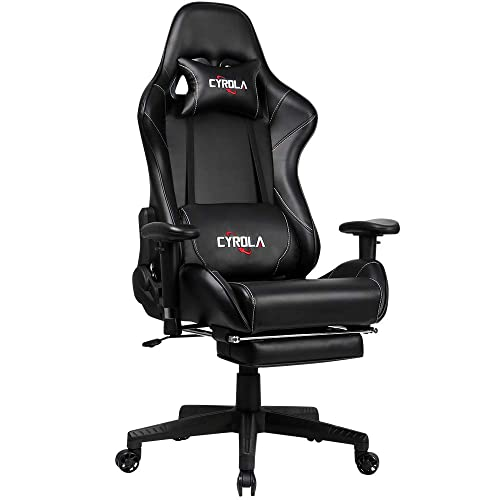 Cyrola Gaming Chair with Footrest High Back Ergonomic Design Adjustable Armrest Computer Racing Gaming Chair for Adults Gamer Chair Heavy Duty Video Game Chair Lumbar Support Black