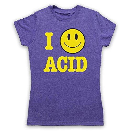 I Love Acid House Smiley Face Camiseta para Mujer Morado Clásico