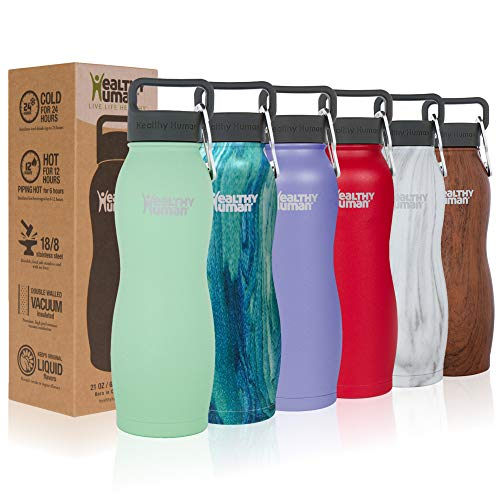 Healthy Human Water Bottle Curve, BPA Free Metal Stainless Steel Sports Water Bottles, Durable Leak Proof Insulated Waterbottle Flask 21oz Curve seamist