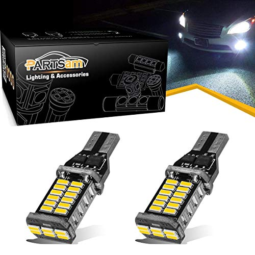 Partsam 2X 30LED 912 921 LED Backup Light Bulbs T15 906 High Power CANBUS Error Free Light 12-24V 2000Lumens Extremely Bright 6000K Xenon White for Center High-Mounted Stop Lamp Reverse Backup Light