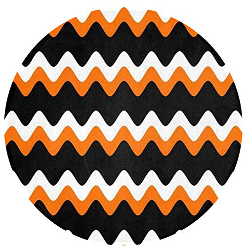 Zeajant Round Area Rug Non-Slip Halloween Strip Pattern