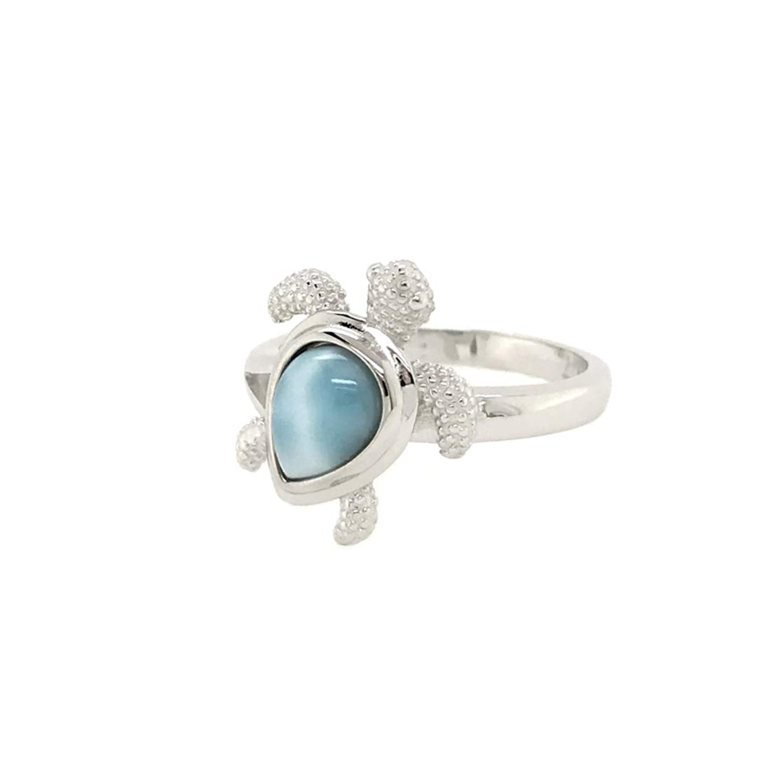 Sterling Silver 925 Natural Larimar Hawaiian Sea Turtle Ring