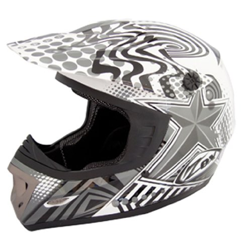 ZOX Rush Junior Off-Road Helmet with Star Graphic (Dark Silver/Black, Large)