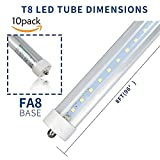Zoopod T8 8FT FA8 LED Light Tube 36W(90W equivalent), 6500K, 3600 Lumen Brightness, Dual-ended Power, Energy Saving Fluorescent Tube Replacement,Milky Clear Cover (10pcs, clear cover)