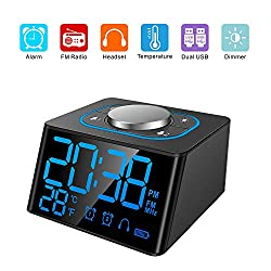 Clock Radios, Bedside Clock, Dual Snooze Alarm Clock Radio, 12/24H Mode, 5 Levels of LED Brightness Dimmer, Indoor Temperature Display, USB Charging for Smart Phone (Black)