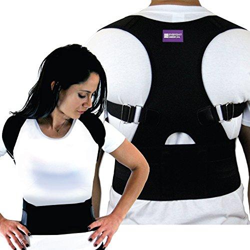 Everyday Medical Back Lumbar Support Brace, Best Shoulder Brace Posture Corrector For Women, Men, Senior and the Elderly, Fully Adjustable Improves Slouching, Back Pain & Thoracic Kyphosis-Medium