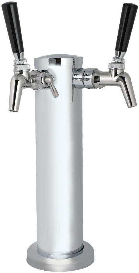 Double Faucet Jeu de robinets avec distributeur de bi/ère et tour de tirage de bi/ère r/églable en acier inoxydable argent Nitrip