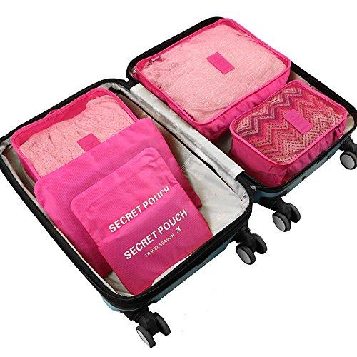 GGG 6 Stück Wasserdicht Reisentasche Speicher Beutel Würfel Aufbewahrung Pink