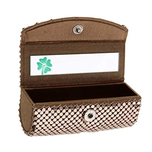 Lipstick Case Lipstick Holder Silky Satin Fabric Cosmetic Case with Mirror Four-leafed Clover, Snap-on Closure - Grey