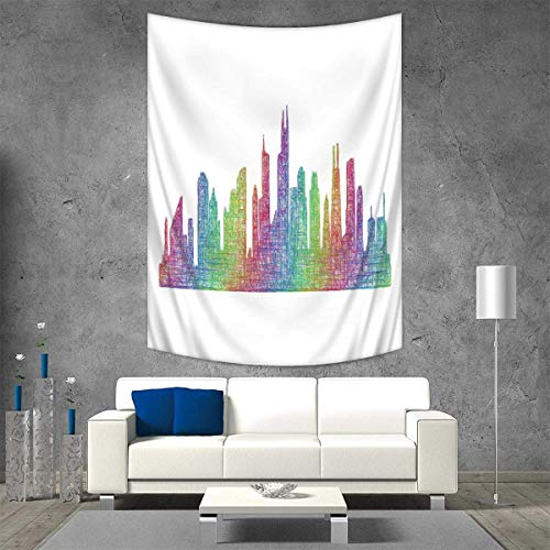Anhuthree Chicago Skyline Throw, Bed, Tapestry Yoga Blanket Abstract City Scene in Mixed Rainbow Tones Modern Featured Artful Kitsch Wall Art Home Decor 70W x 93L INCH Multicolor -