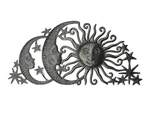 Sun Moons and Stars Celestial Arch, Haiti Metal Art, Fair Trade, Recycled Metal Wall Art, Steel wall Sculpture, 34