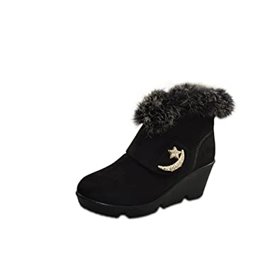 Women's Closed-toe Imitated Suede Hook-And-Loop Kitten-heels Ankle-high Boots