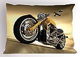 Lunarable Motorcycle Pillow Sham, Iron Custom Aesthetic Hobby Motorbike Futuristic Modern Mirrors Riding Theme, Decorative Standard King Size Printed Pillowcase, 36 X 20 inches, Yellow Silver