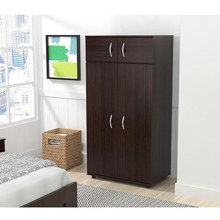 Inval Four Door Wardrobe/Armoire, Espresso-Wengue Finish from Supernon