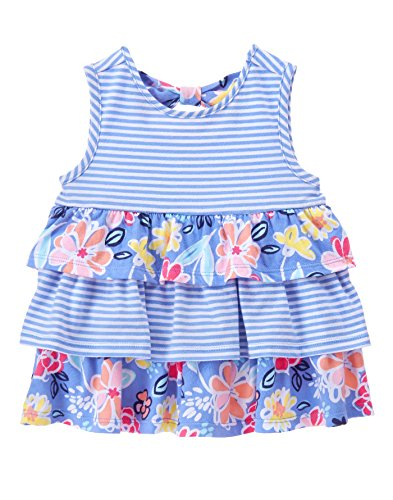 Gymboree Baby Toddler Girls' Tiered Tank Top, Faberge Blue, 5T